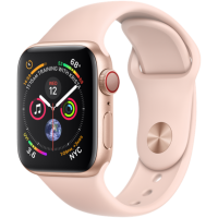 Apple Watch Series 4 (GPS+Cellular) 40mm Gold Aluminum w. Pink Sand Sport Band (MTUJ2)