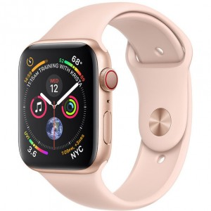 Apple Watch Series 4 (GPS+Cellular) 44mm Gold Aluminum w. Pink Sand Sport Band (MTV02)