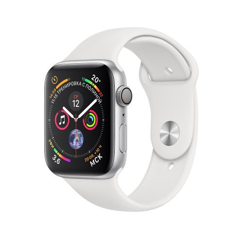 Apple Watch Series 4 (GPS) 44mm Silver Aluminum w. White Sport Band