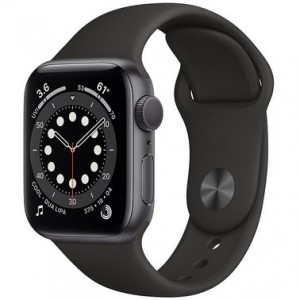 Apple Watch Series 6 44mm Space Gray Aluminum Case with Black Sport Band (M00H3)