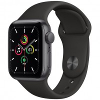 Apple Watch SE GPS 44mm Space Gray Aluminum Case with Black Sport Band (MYDP2)