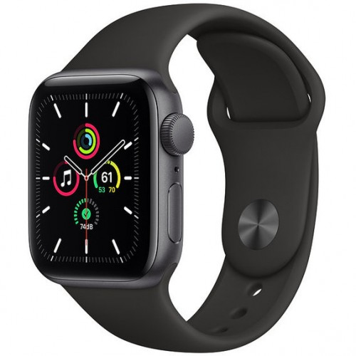 Apple Watch SE GPS 40mm Space Gray Aluminum Case with Black Sport Band (MYDT2)