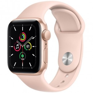 Apple Watch SE GPS 44mm Gold Aluminum Case with Pink Sand Sport Band (MYDR2)